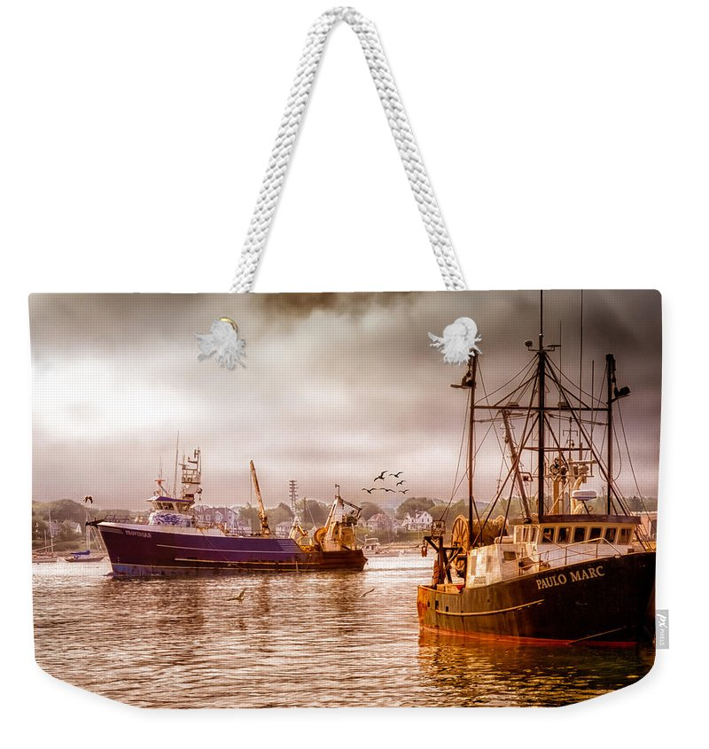 Seascape.dreamscape Weekender Tote Bag featuring the photograph Heading Out by Bob Orsillo