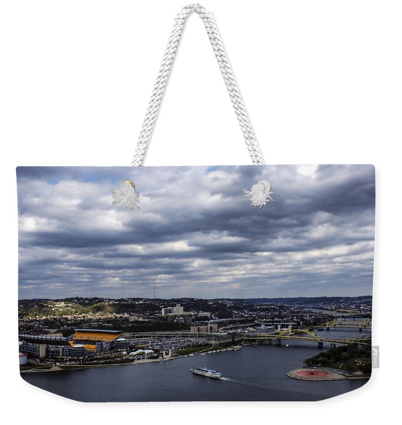 Three Rivers Stadium Weekender Tote Bag featuring the photograph Heading To The Game by Michelle Joseph-Long