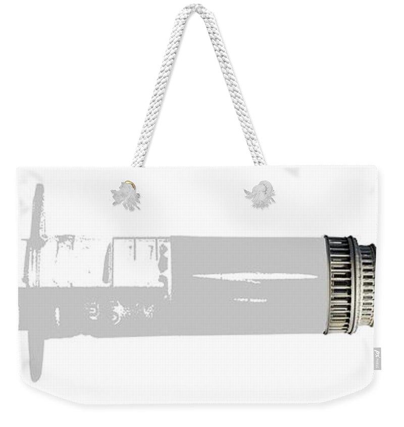 Syringe Weekender Tote Bag featuring the digital art Health Care Funding by Chris Van Es