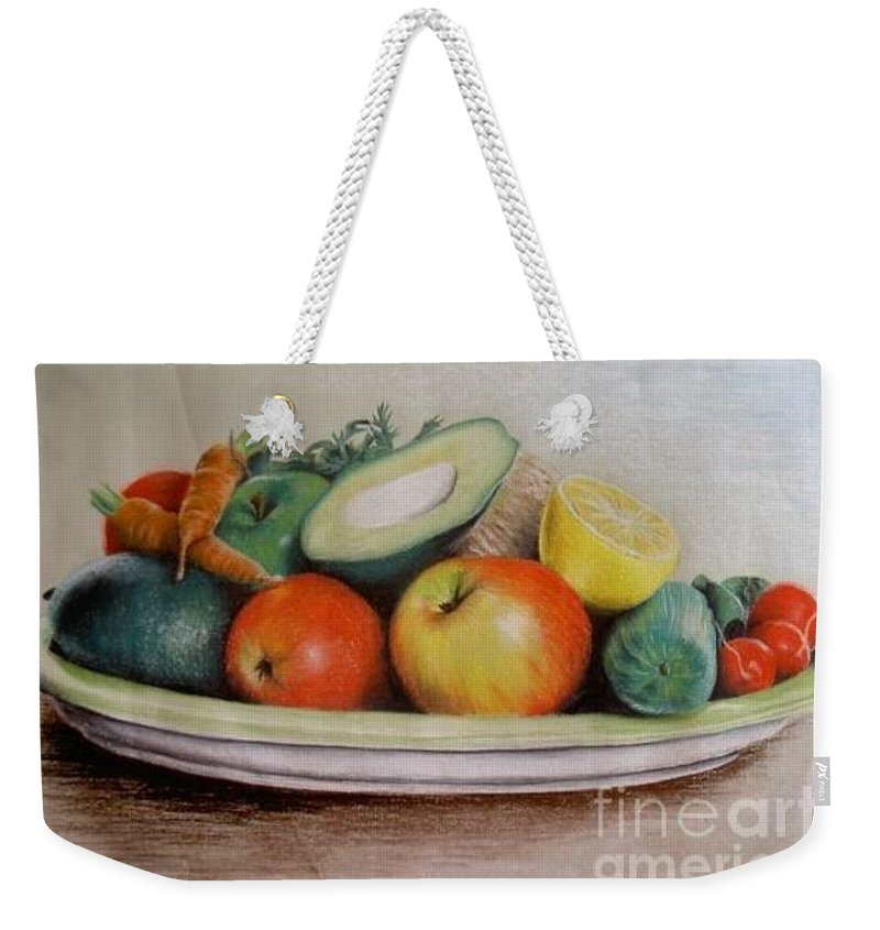 Fruit Weekender Tote Bag featuring the pastel Healthy Plate by Katharina Filus