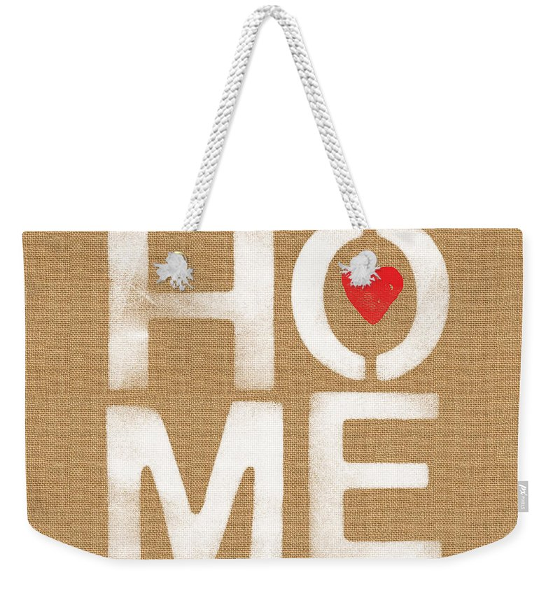 Home Weekender Tote Bag featuring the painting Heart And Home by Linda Woods