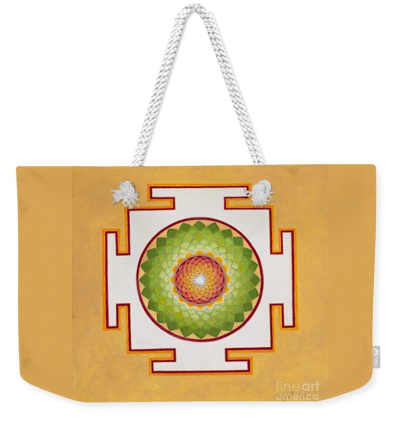 Mandala Weekender Tote Bag featuring the painting Heart Chakra by Mayki Wiberg