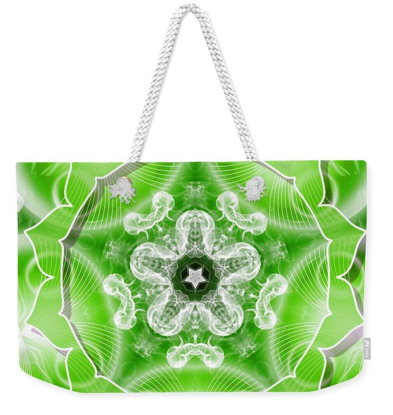 Sacredlife Mandalas Weekender Tote Bag featuring the digital art Heart Chakra Venus by Derek Gedney