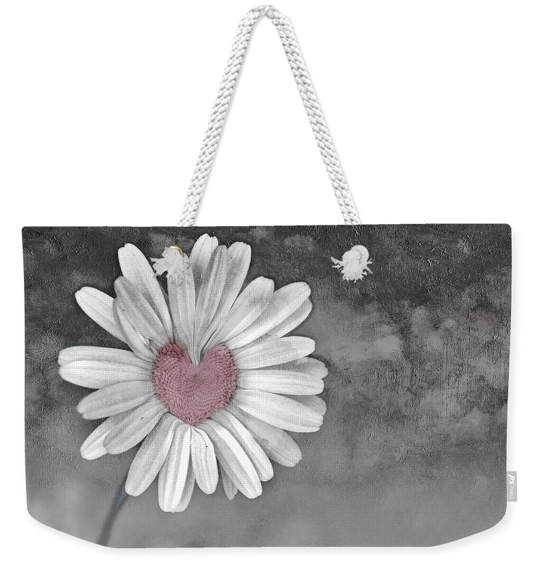 Heart Of A Daisy Weekender Tote Bag featuring the photograph Heart Of A Daisy by Linda Sannuti