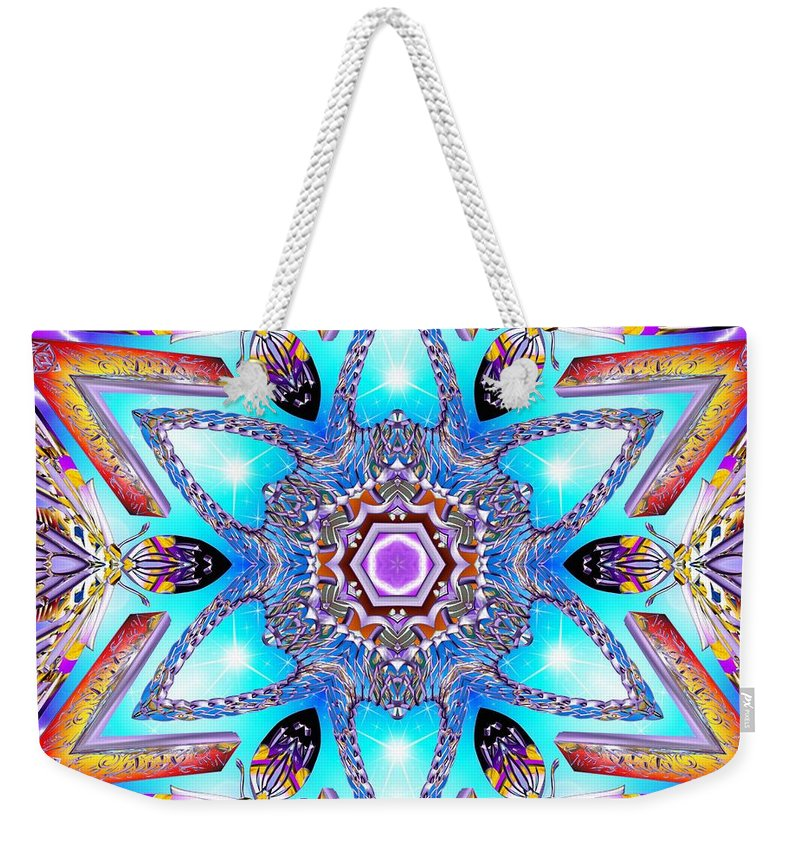 Sacredlife Mandalas Weekender Tote Bag featuring the digital art Heart Of Inner Sense by Derek Gedney