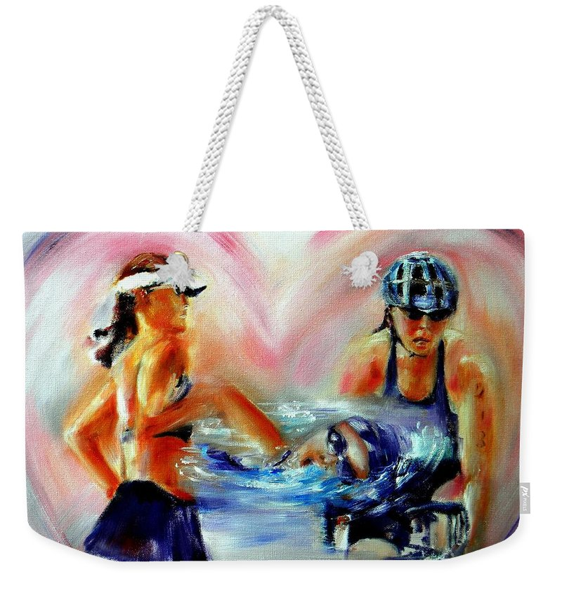 Triathlete Artwork Weekender Tote Bag featuring the painting Heart Of The Triathlete by Sandy Ryan