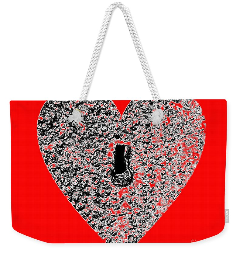 Heart Weekender Tote Bag featuring the photograph Heart Shaped Lock - Red by Al Powell Photography USA
