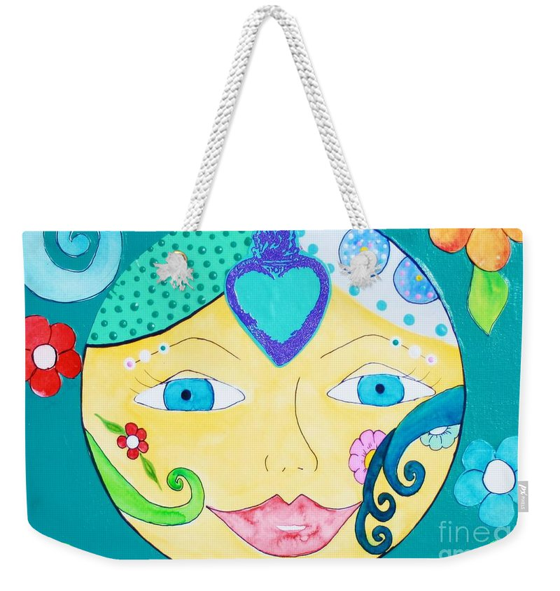 Sun Weekender Tote Bag featuring the painting Heart Sun by Melinda Etzold
