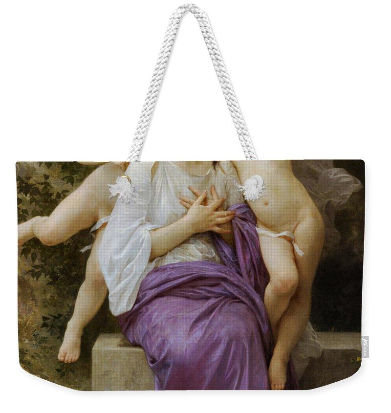 Heart's Awskening Weekender Tote Bag featuring the digital art Heart's Awskening by William Bouguereau