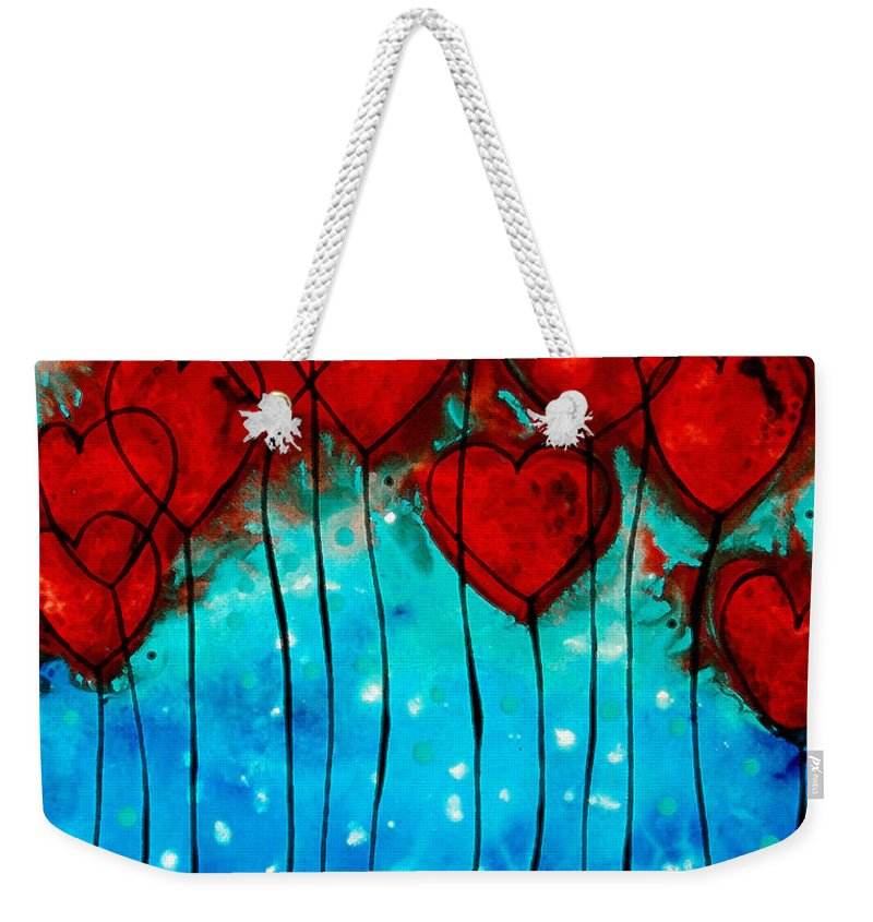 Red Weekender Tote Bag featuring the painting Hearts On Fire - Romantic Art By Sharon Cummings by Sharon Cummings