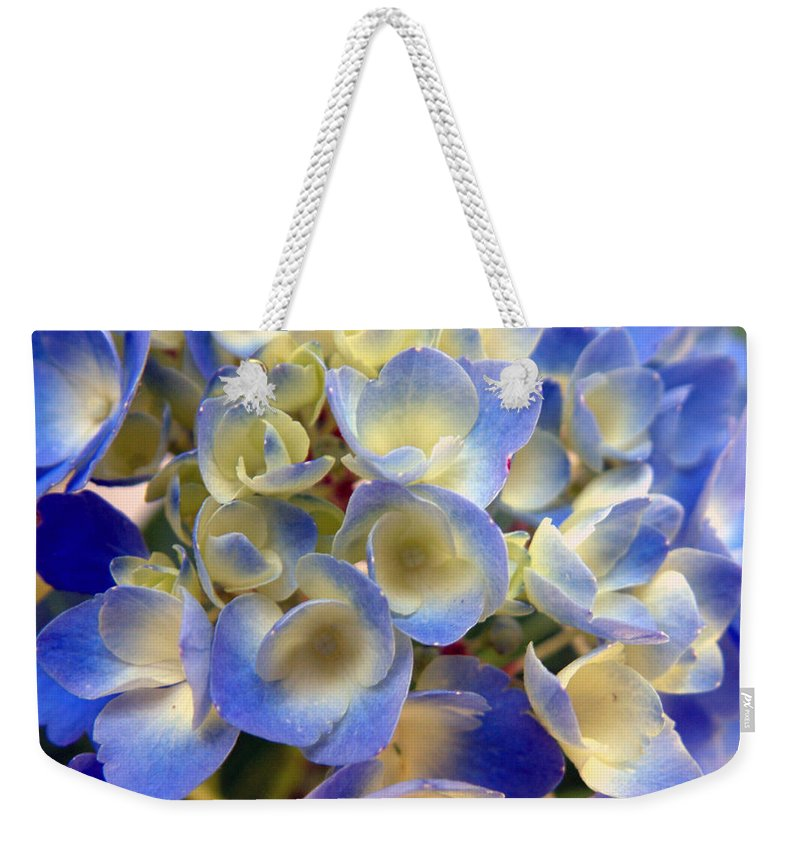 Floral Weekender Tote Bag featuring the photograph Heavenly Blues by RC deWinter
