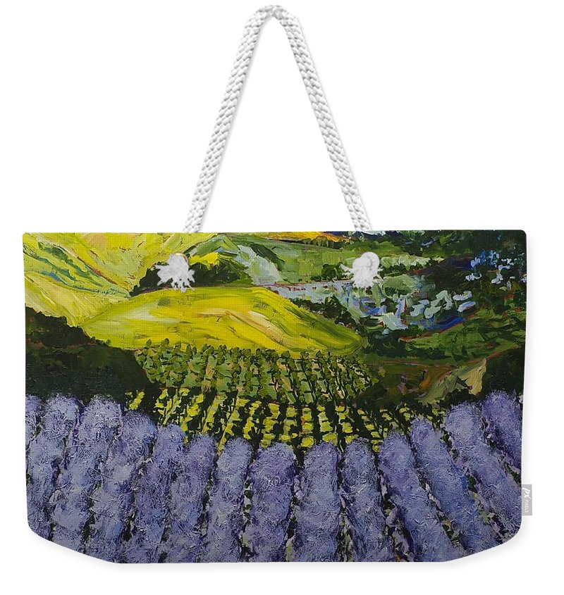 Landscape Weekender Tote Bag featuring the painting Heavenly Valley by Allan P Friedlander