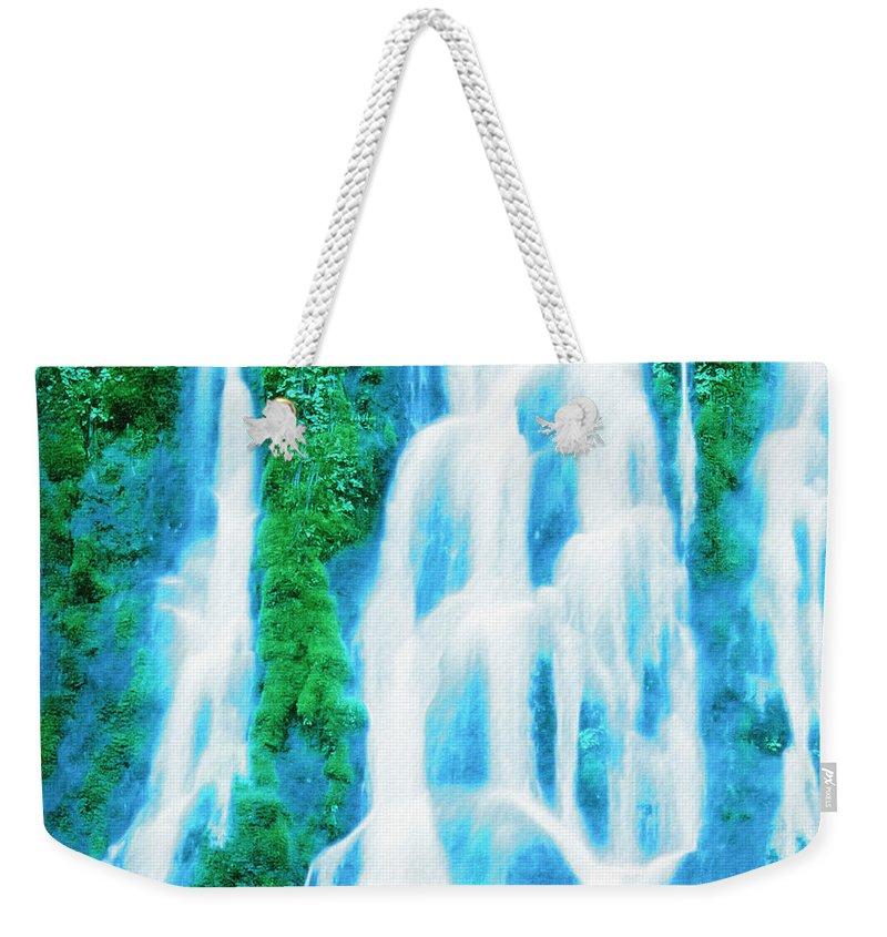 Waterfall Weekender Tote Bag featuring the digital art Heavenly Veil by Lyriel Lyra