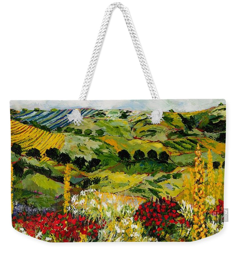 Landscape Weekender Tote Bag featuring the painting Heavenly View by Allan P Friedlander