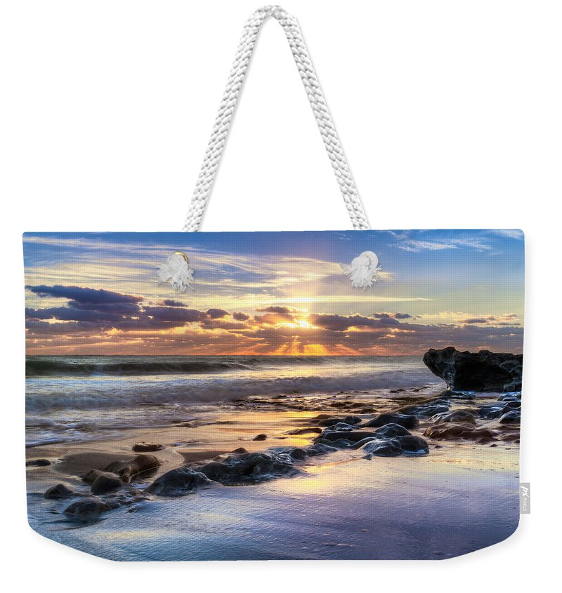 Clouds Weekender Tote Bag featuring the photograph Heaven's Lights by Debra and Dave Vanderlaan
