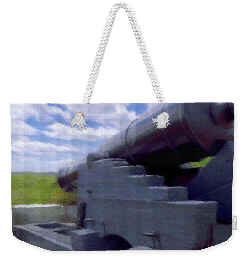 Canadian Weekender Tote Bag featuring the painting Heavy Artillery by Jeffrey Kolker