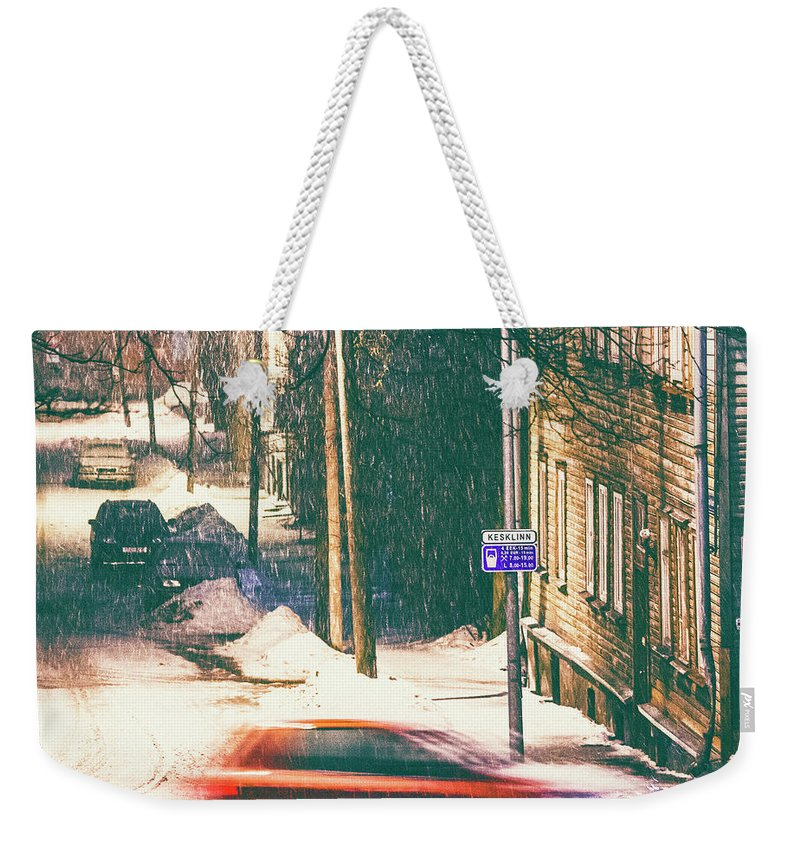 Curve Weekender Tote Bag featuring the photograph Heavy Snowfall In Town by Peeterv