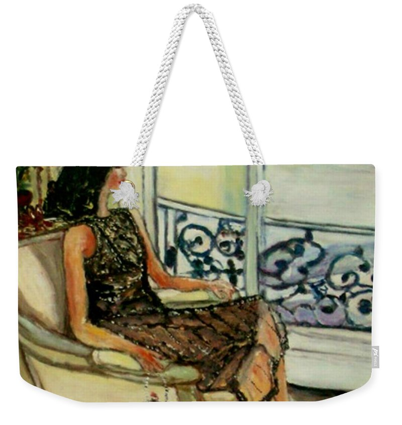 Figurative Weekender Tote Bag featuring the painting Heddy by Helena Bebirian