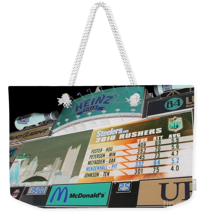 Pittsburgh Weekender Tote Bag featuring the photograph Heinz Field Soreboard by Michael Krek