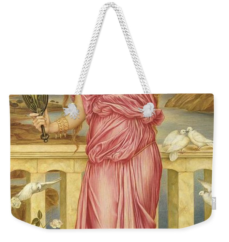 William Weekender Tote Bag featuring the painting Helen Of Troy by Evelyn De Morgan