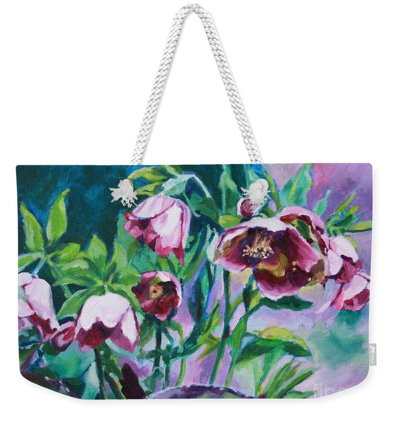 Hellebores Weekender Tote Bag featuring the painting Hellebore Flowers by Jan Bennicoff