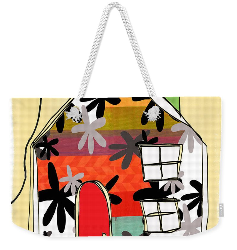 House Weekender Tote Bag featuring the mixed media Hello Card by Linda Woods