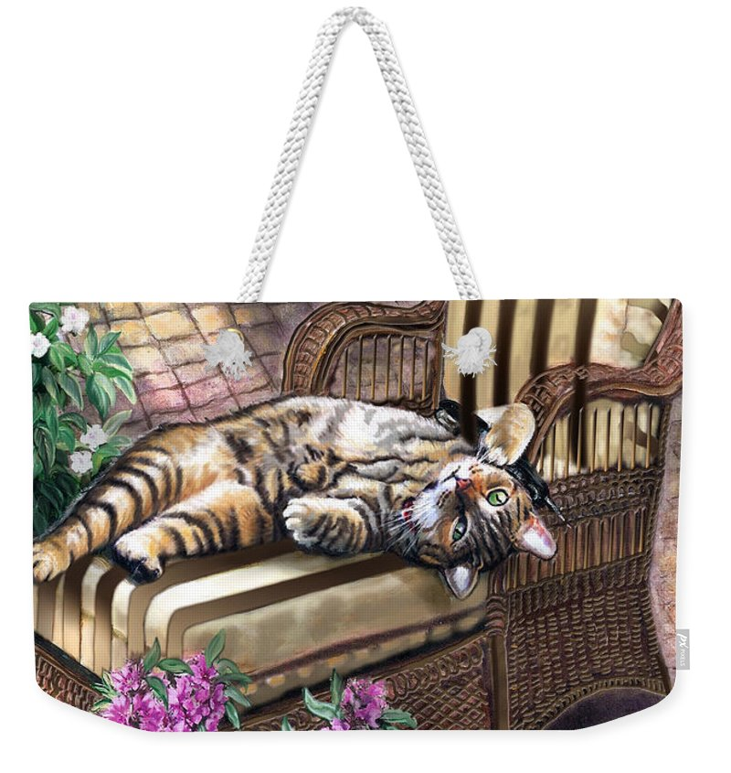 Pet Painting Weekender Tote Bag featuring the painting Hello from a Kitty by Regina Femrite