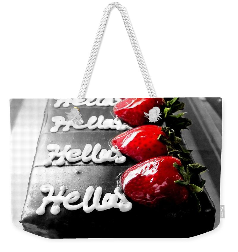 Black And White Weekender Tote Bag featuring the photograph Hello by Valoree Skiles