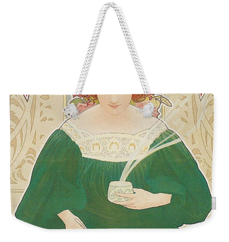 Henri Privat-livemont Weekender Tote Bag featuring the painting Helm Cacao by Henri Privat-Livemont