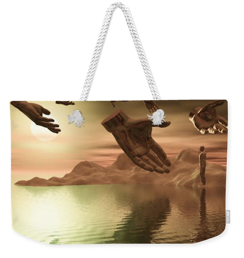 Helping Weekender Tote Bag featuring the digital art Helping Hands by John Alexander