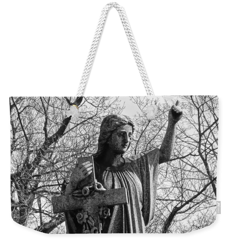 Monochrome Weekender Tote Bag featuring the photograph Her Cross by Gothicrow Images