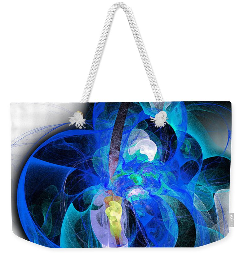 Andee Design Abstract Weekender Tote Bag featuring the digital art Her Heart Is A Guitar Blue by Andee Design