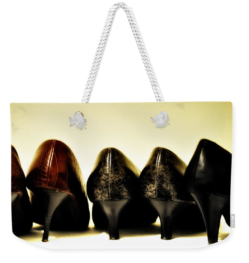 Her Shoes Weekender Tote Bag featuring the photograph Her Shoes by Bill Cannon