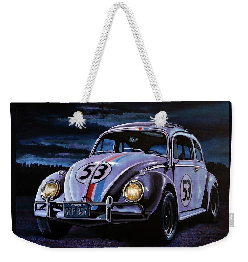 Herbie Weekender Tote Bag featuring the painting Herbie The Love Bug Painting by Paul Meijering