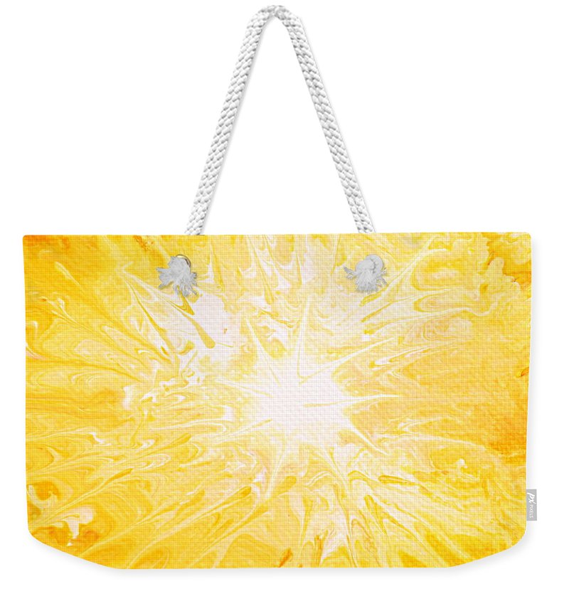 Yellow Sun Weekender Tote Bag featuring the painting Here Comes The Sun by Kume Bryant