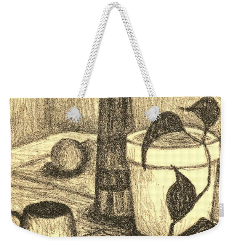Still Life Weekender Tote Bag featuring the drawing Here is the Flashlight by Kendall Kessler