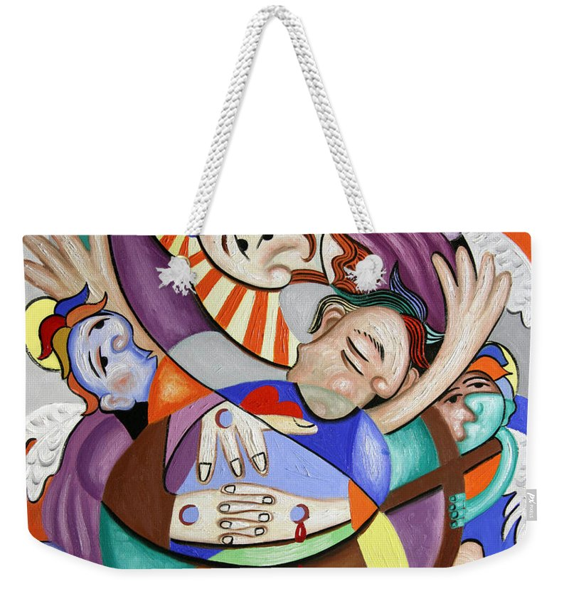 Here My Prayer Weekender Tote Bag featuring the painting Here My Prayer by Anthony Falbo