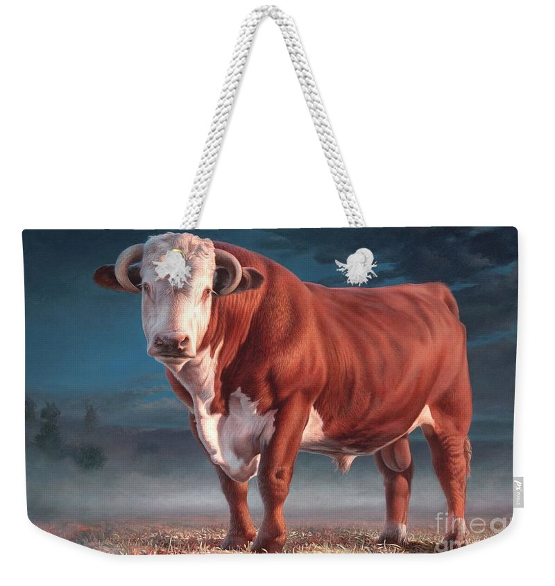 Hereford Bull Weekender Tote Bag featuring the painting Hereford Bull by Hans Droog