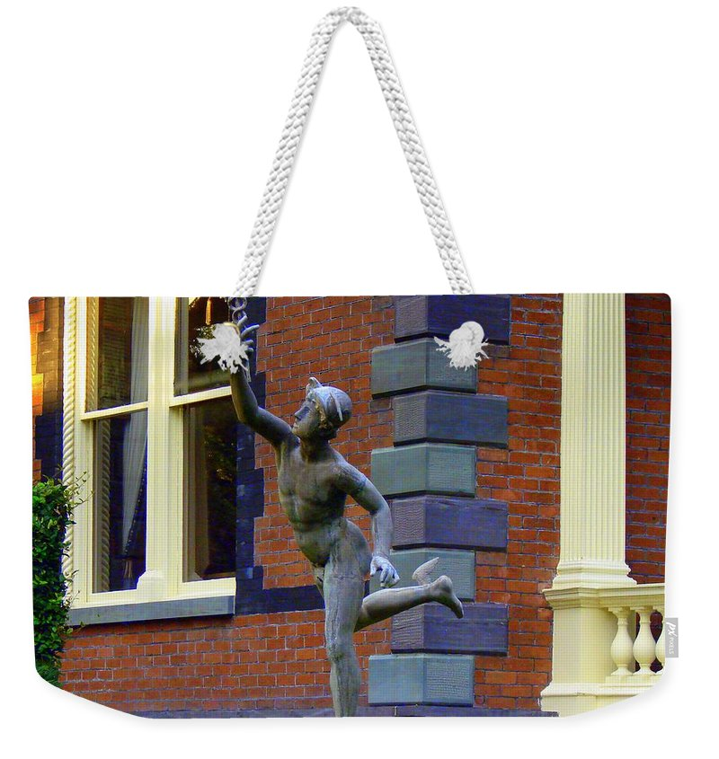 Statue Weekender Tote Bag featuring the photograph Hermes In The Garden by Rodney Lee Williams