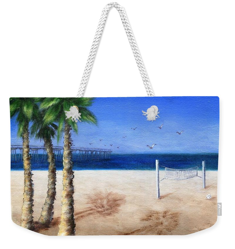 Palm Weekender Tote Bag featuring the painting Hermosa Beach Pier by Jamie Frier