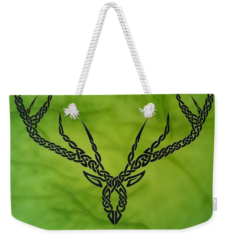 Celtic Knotwork Antlers Green Forest Antlers Deer Hunter Hunting Trees Branches Nature Cernunnos Weekender Tote Bag featuring the painting Herne by Guy Pettingell