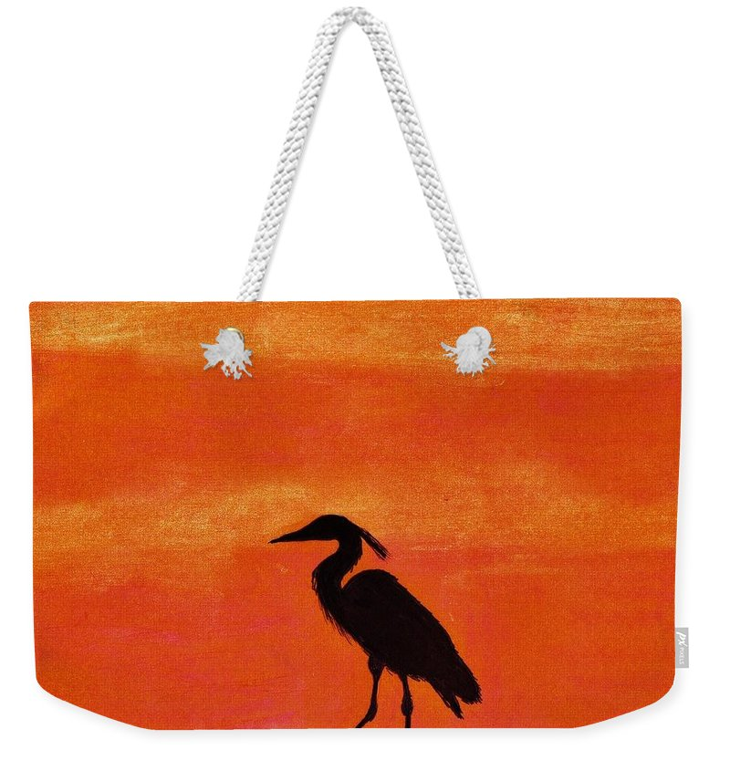 Sunset Weekender Tote Bag featuring the drawing Heron - At - Sunset by D Hackett