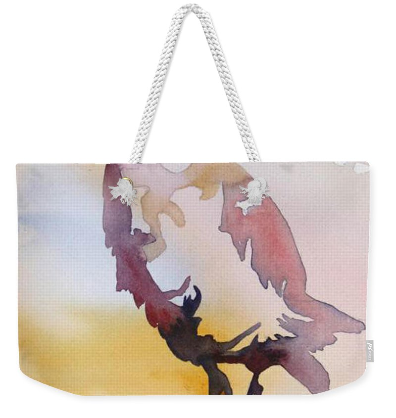 Nature Weekender Tote Bag featuring the painting Heron by Shirin Shahram Badie