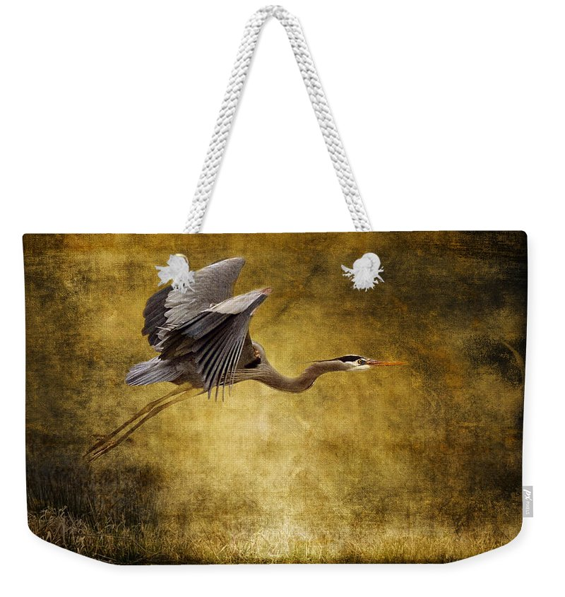 Heron Texturized Weekender Tote Bag featuring the photograph Heron Texturized by Wes and Dotty Weber