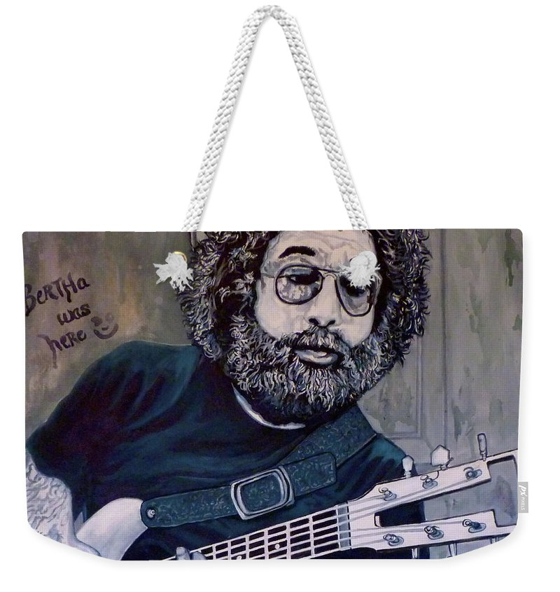 Jerry Weekender Tote Bag featuring the painting Hey Now - Blue Jerry by Tom Roderick