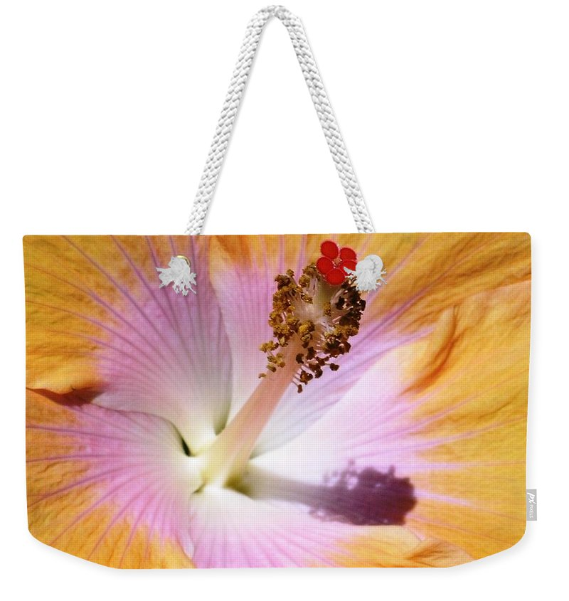 Hibiscus Weekender Tote Bag featuring the photograph Hibiscus Center by Mary Deal