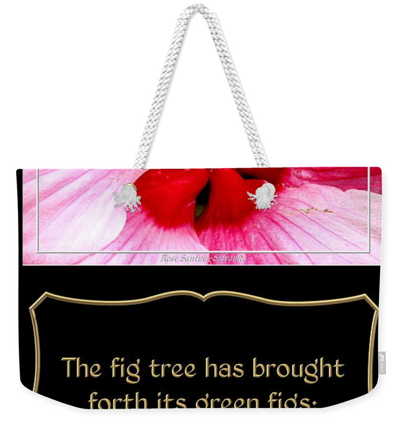 Hibiscus Weekender Tote Bag featuring the photograph Hibiscus Closeup With Bible Quote From Song Of Songs by Rose Santuci-Sofranko