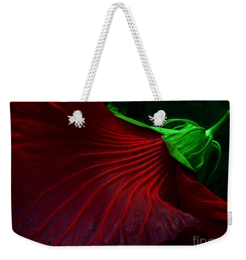 Hibiscus Weekender Tote Bag featuring the photograph Hibiscus Red by Mike Nellums