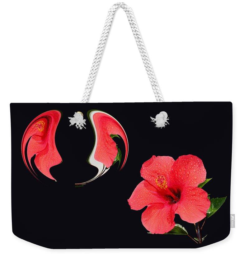 Hibiscus Weekender Tote Bag featuring the painting Hibiscus Seed Dream Digital Art by Georgeta Blanaru