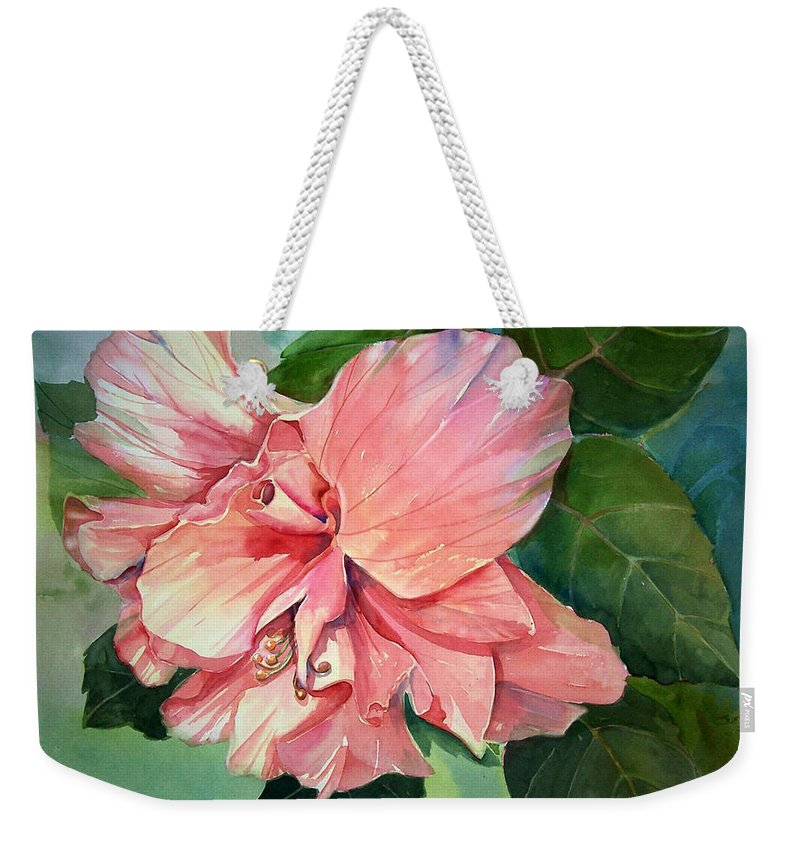Flower Weekender Tote Bag featuring the painting Hibiscus by Sue Kemp